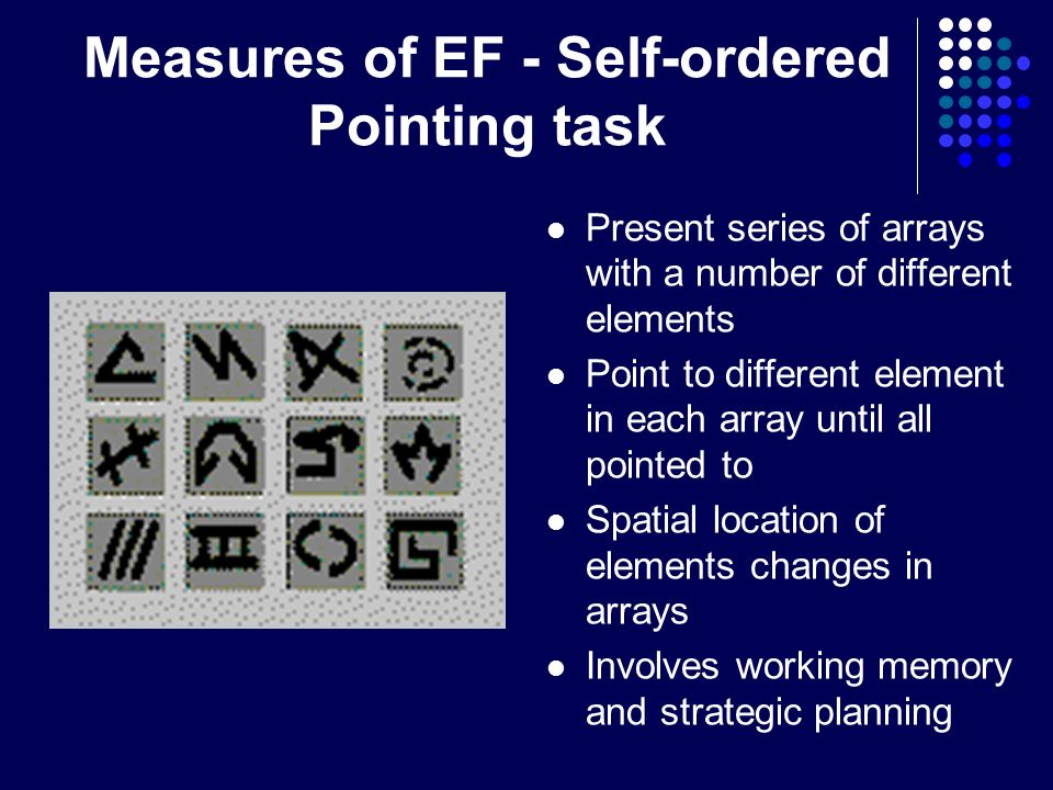 Measures of EF - Self-ordered Pointing task