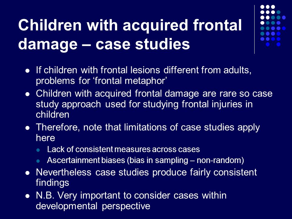 Children with acquired frontal damage – case studies