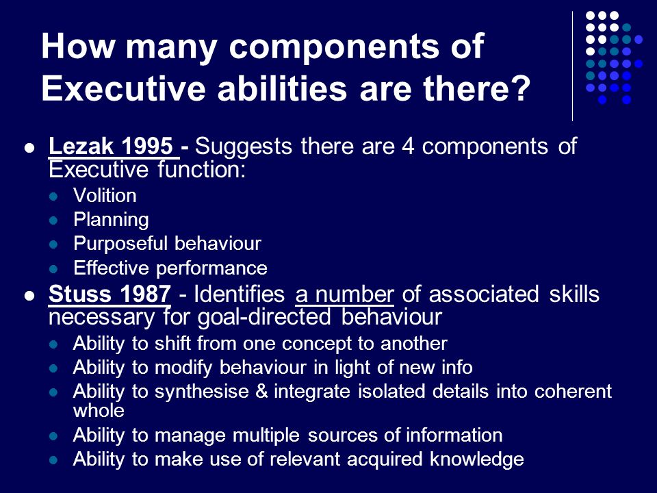 How many components of Executive abilities are there