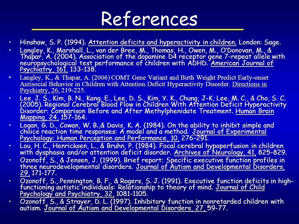 References Hinshaw, S. P. (1994). Attention deficits and hyperactivity in children. London: Sage.