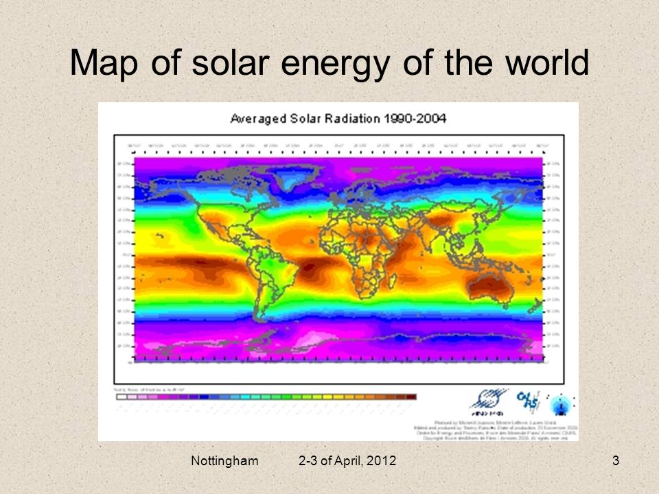 Map of solar energy of the world