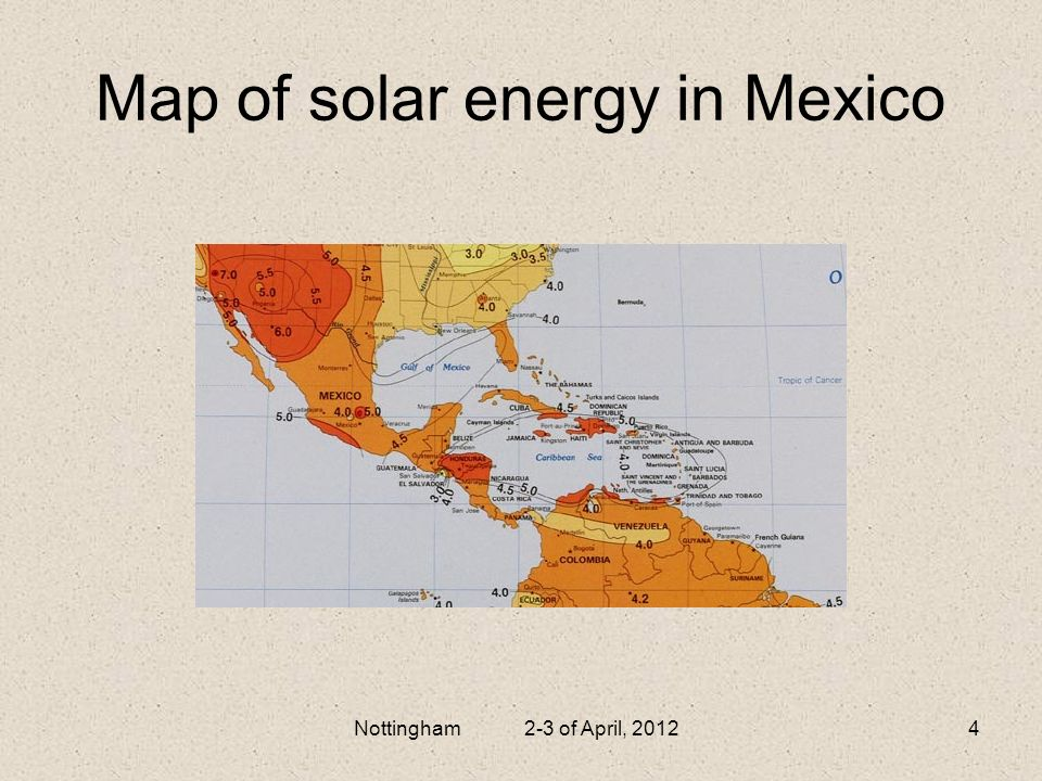 Map of solar energy in Mexico
