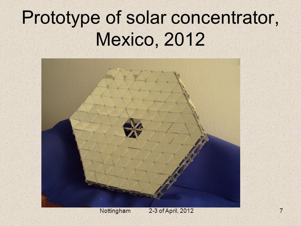 Prototype of solar concentrator, Mexico, 2012