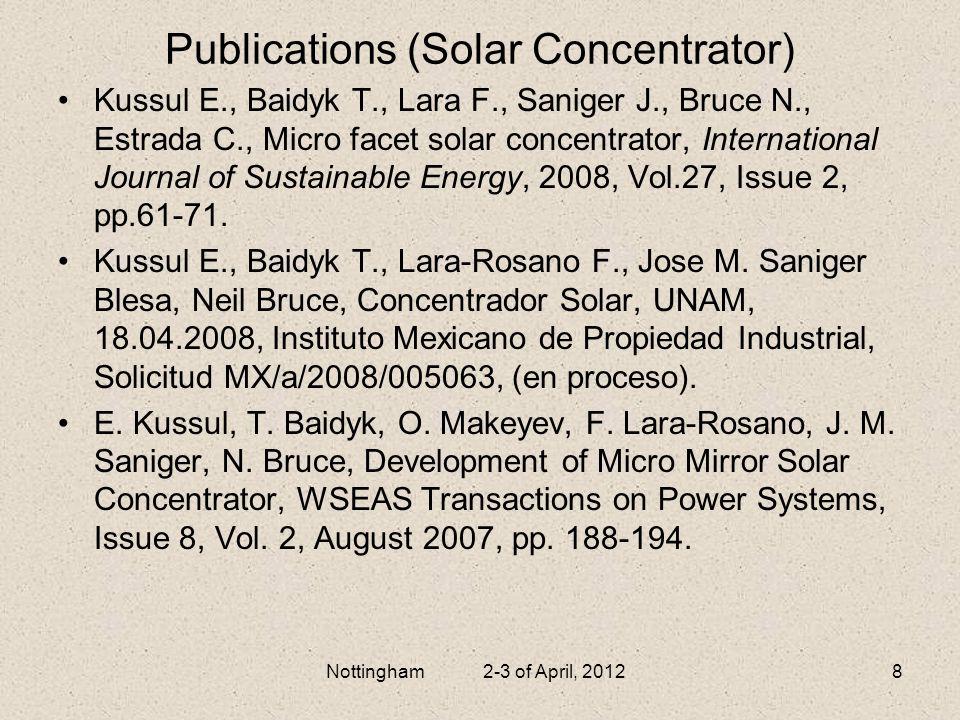 Publications (Solar Concentrator)