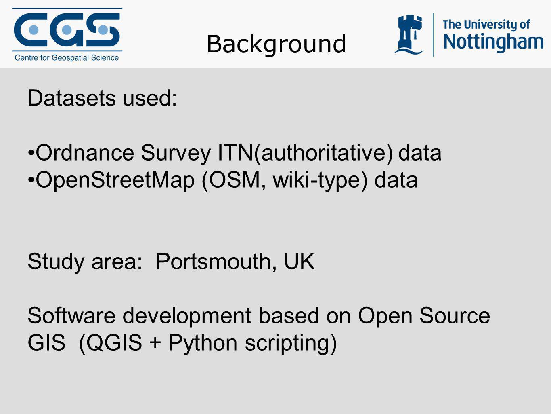 Background Datasets used: Ordnance Survey ITN(authoritative) data