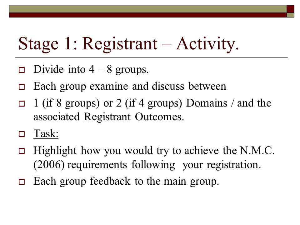 Stage 1: Registrant – Activity.