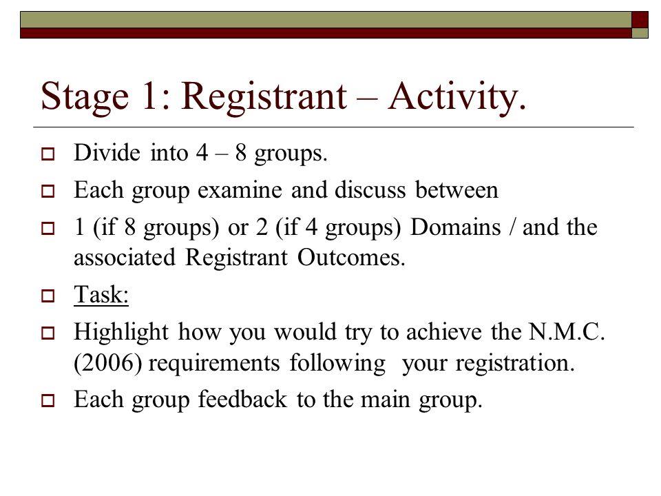 Stage 1: Registrant – Activity.