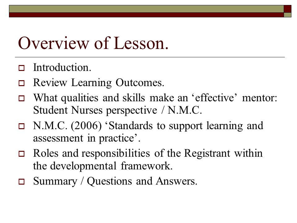 Overview of Lesson. Introduction. Review Learning Outcomes.