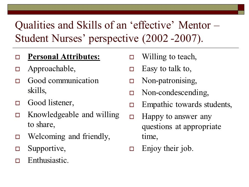 Qualities and Skills of an 'effective' Mentor – Student Nurses' perspective ( ).