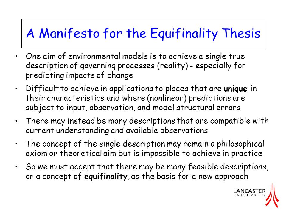 A Manifesto for the Equifinality Thesis