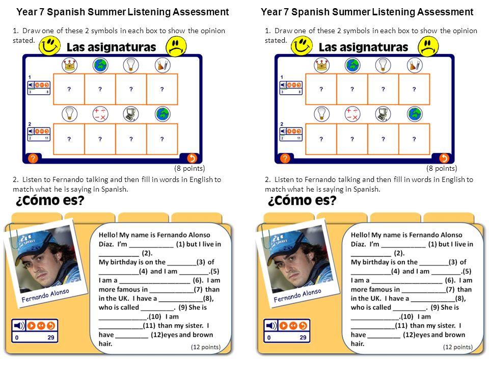 Year 7 Spanish Summer Listening Assessment