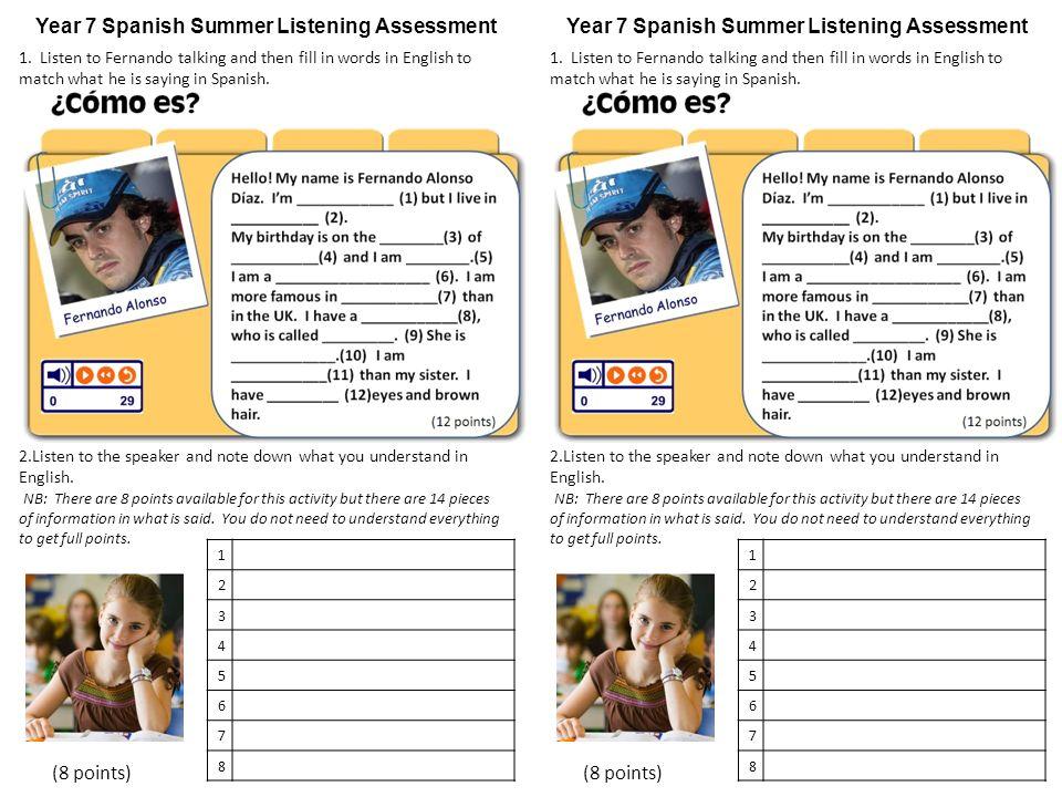 Year 7 Spanish Summer Listening Assessment