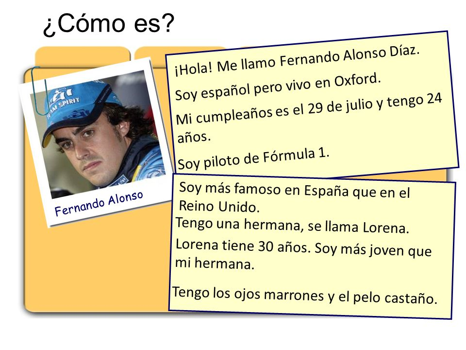 ¿Cómo es ¡Hola! Me llamo Fernando Alonso Díaz.