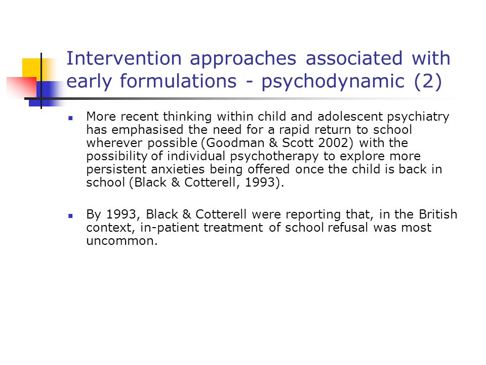 Intervention approaches associated with early formulations - psychodynamic (2)