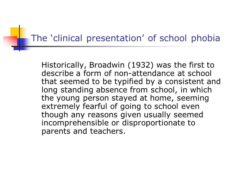 The 'clinical presentation' of school phobia