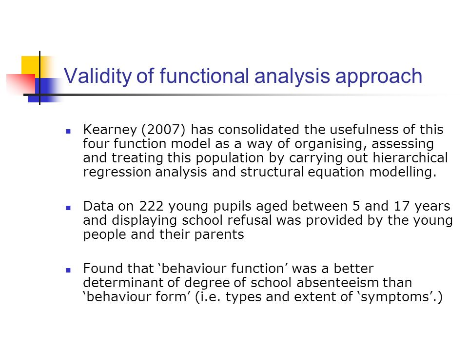 Validity of functional analysis approach