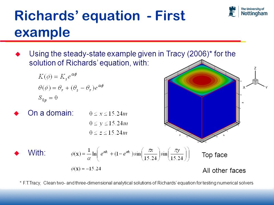 Richards' equation - First example