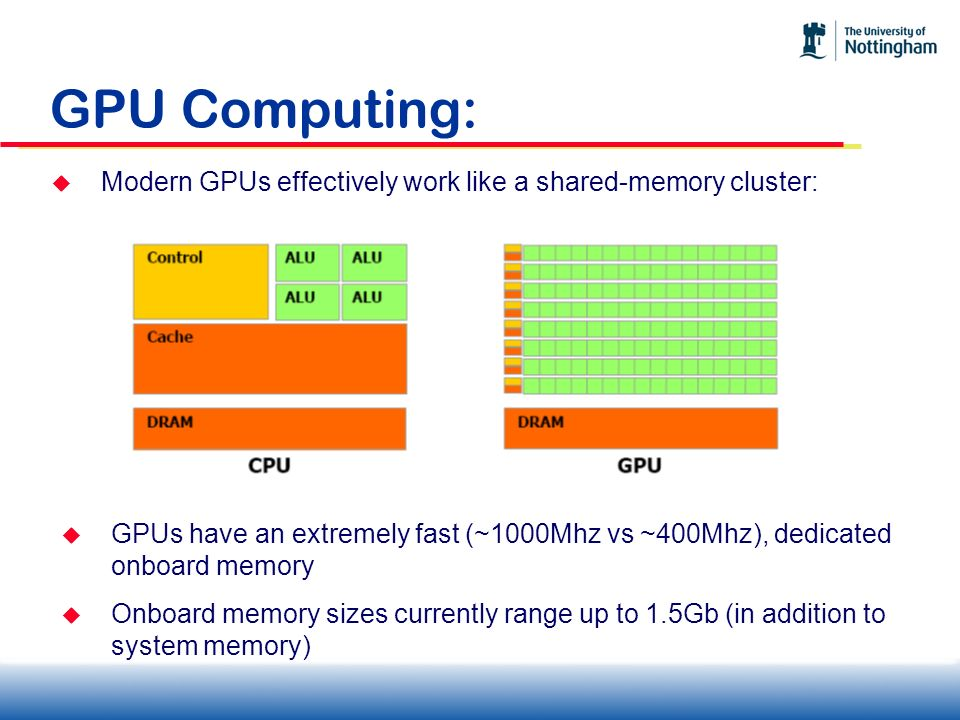 GPU Computing: Modern GPUs effectively work like a shared-memory cluster:
