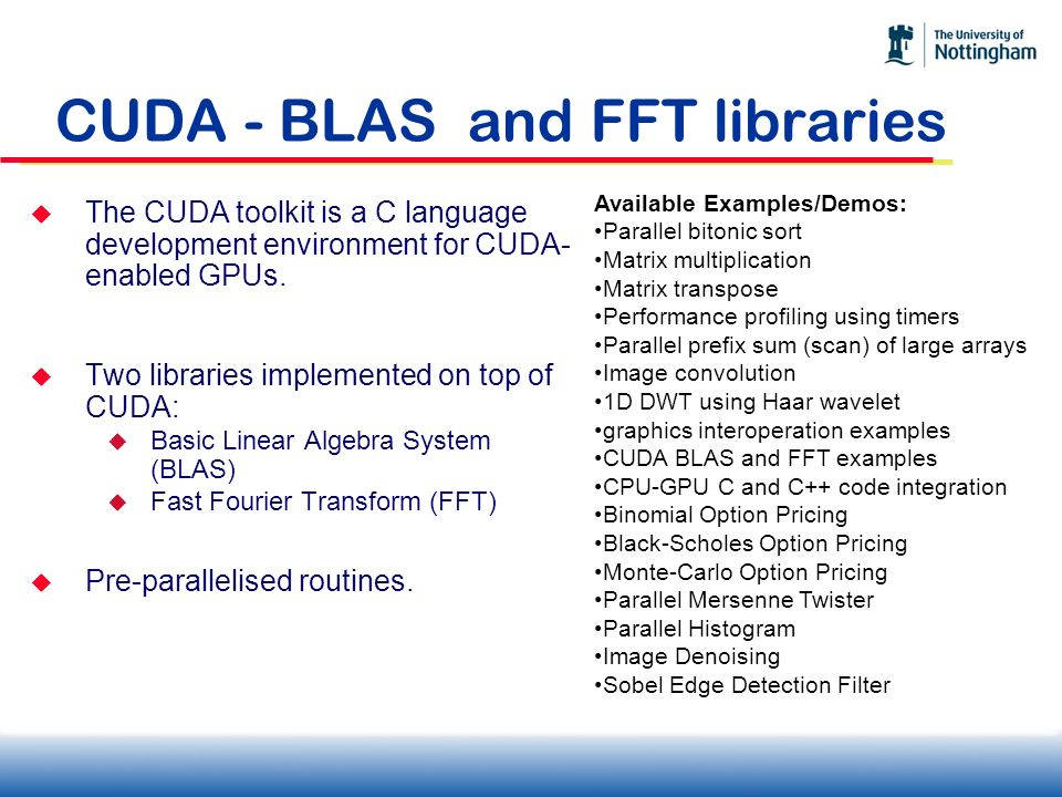 CUDA - BLAS and FFT libraries