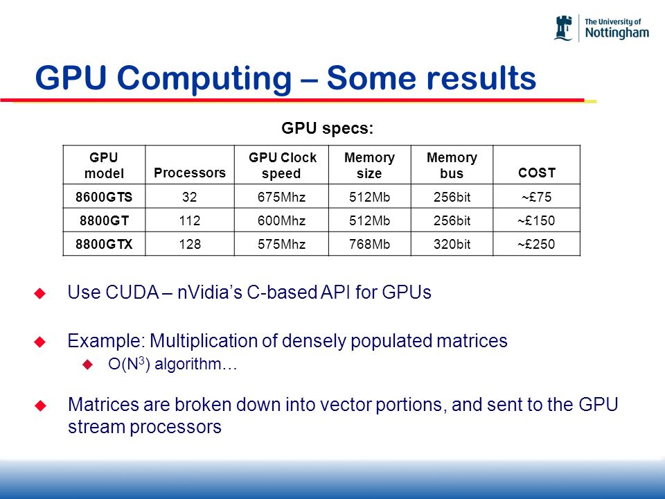 GPU Computing – Some results