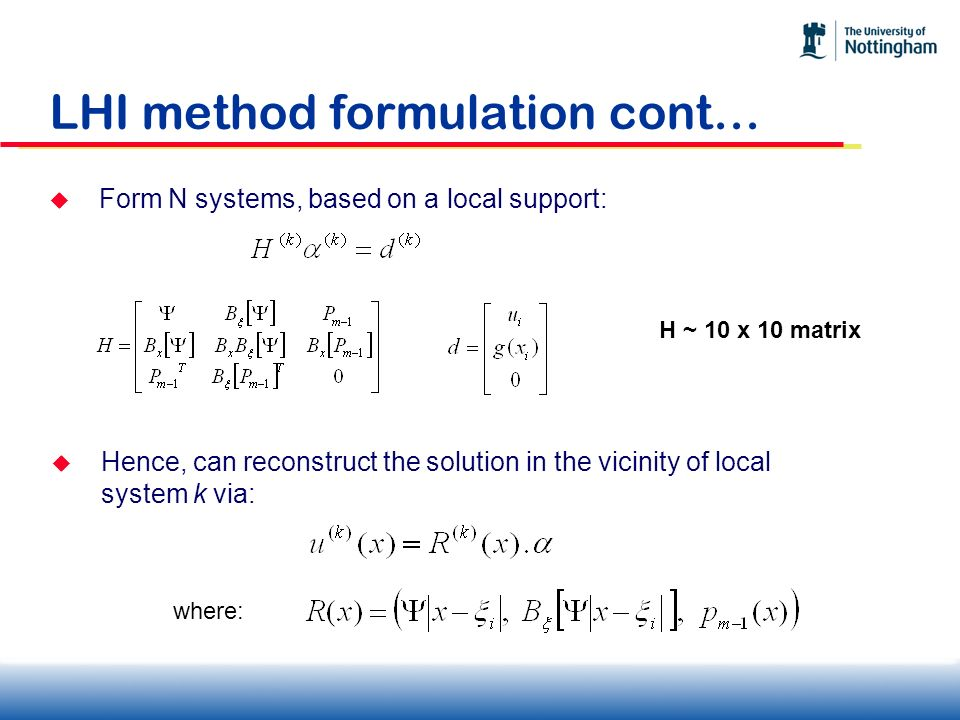 LHI method formulation cont…