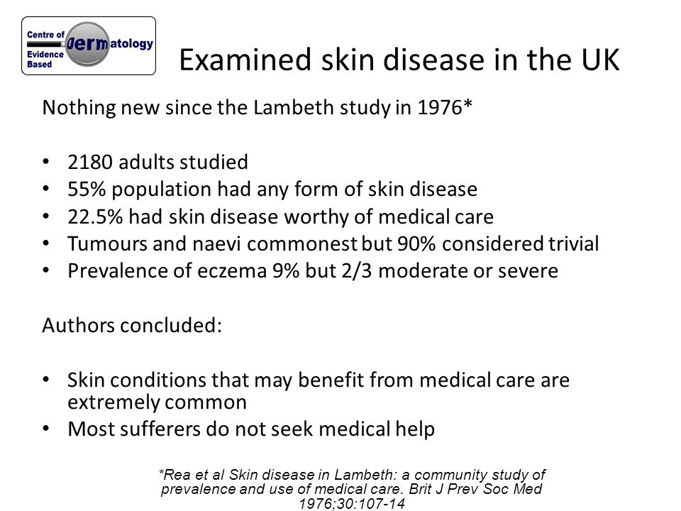 Examined skin disease in the UK