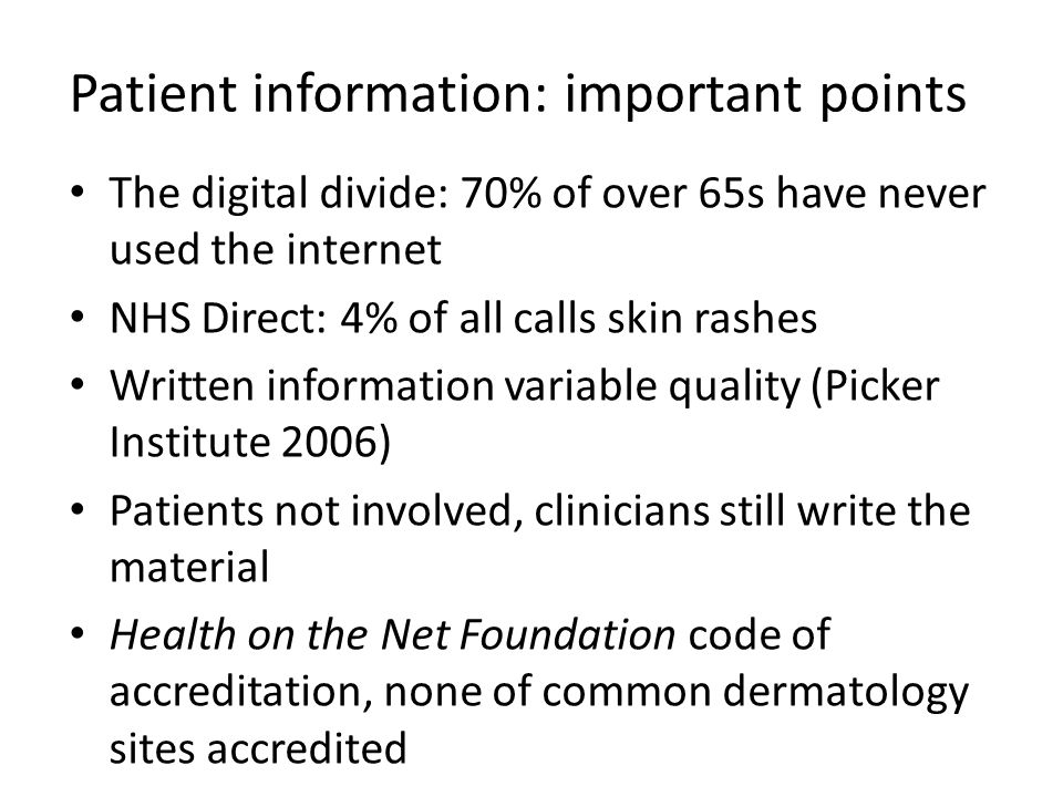 Patient information: important points