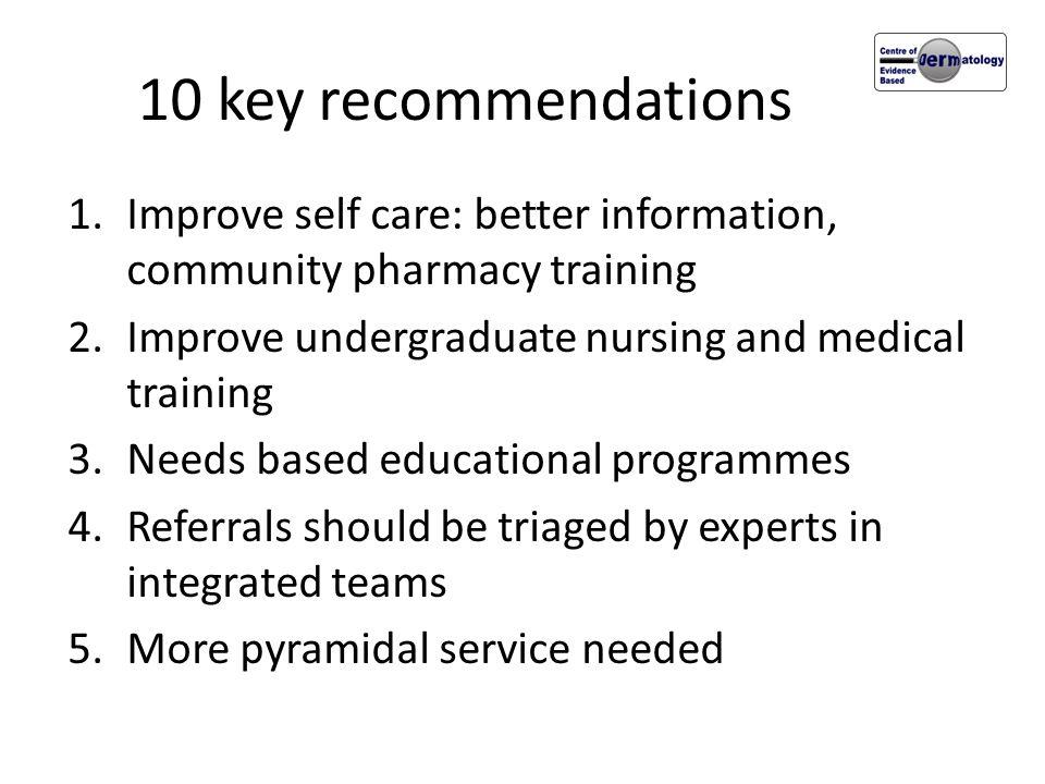 10 key recommendations Improve self care: better information, community pharmacy training. Improve undergraduate nursing and medical training.