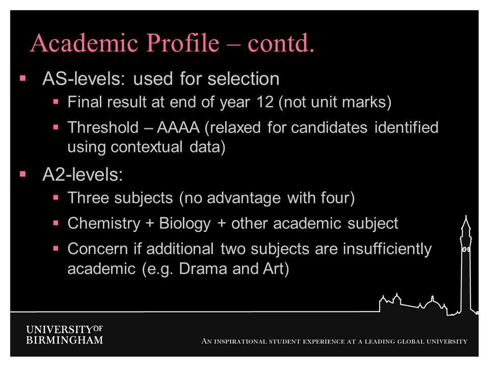 Academic Profile – contd.