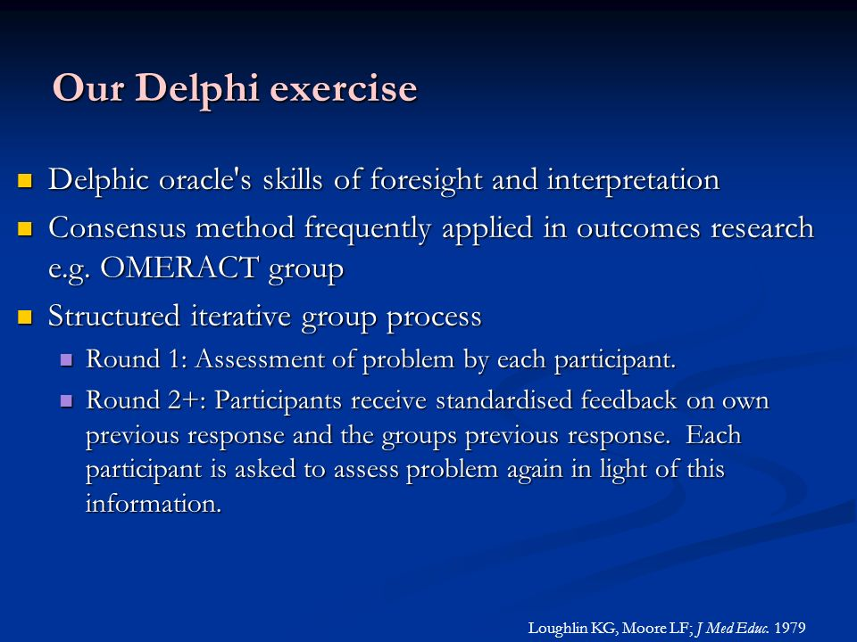 Our Delphi exercise Delphic oracle s skills of foresight and interpretation.