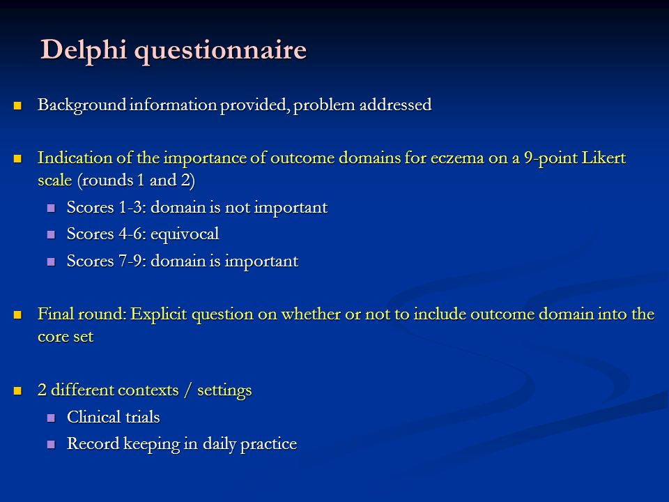 Delphi questionnaire Background information provided, problem addressed.