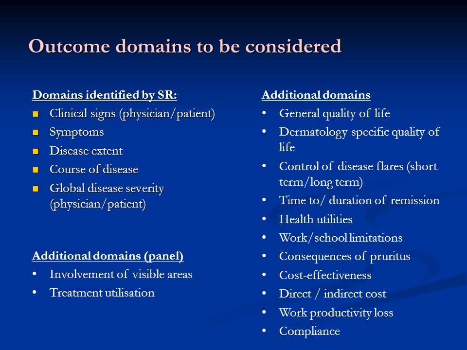 Outcome domains to be considered