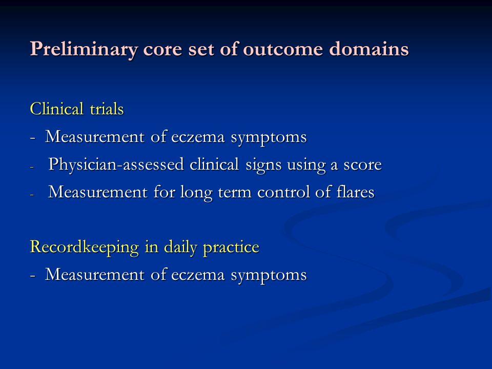 Preliminary core set of outcome domains