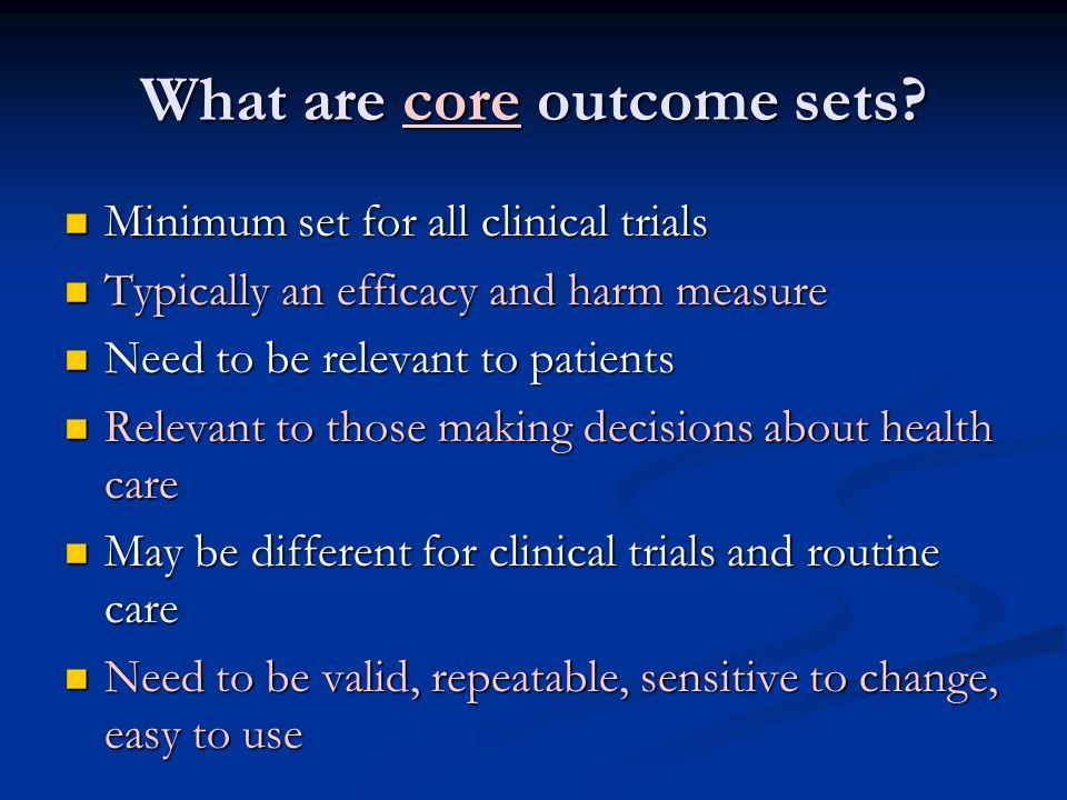 What are core outcome sets
