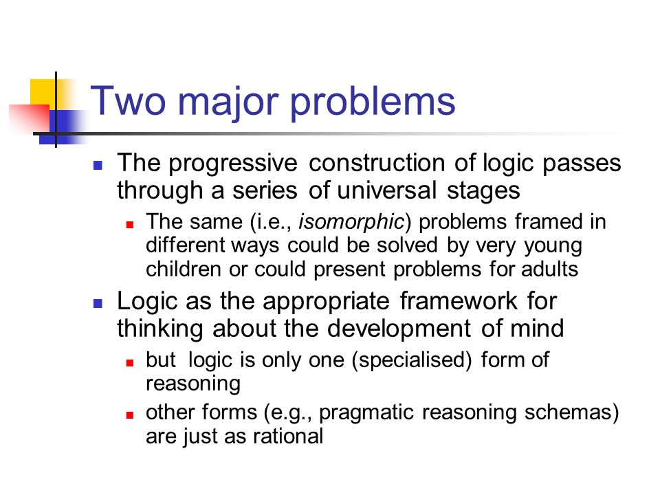 Two major problems The progressive construction of logic passes through a series of universal stages.
