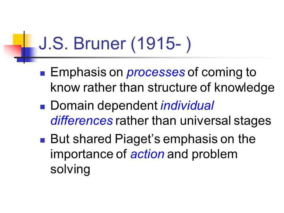 J.S. Bruner (1915- ) Emphasis on processes of coming to know rather than structure of knowledge.