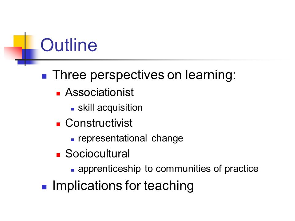Outline Three perspectives on learning: Implications for teaching