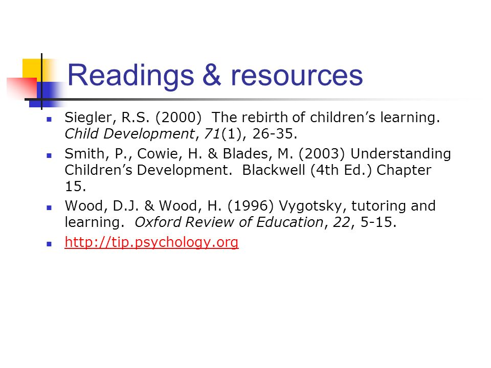 Readings & resources Siegler, R.S. (2000) The rebirth of children's learning. Child Development, 71(1), 26-35.