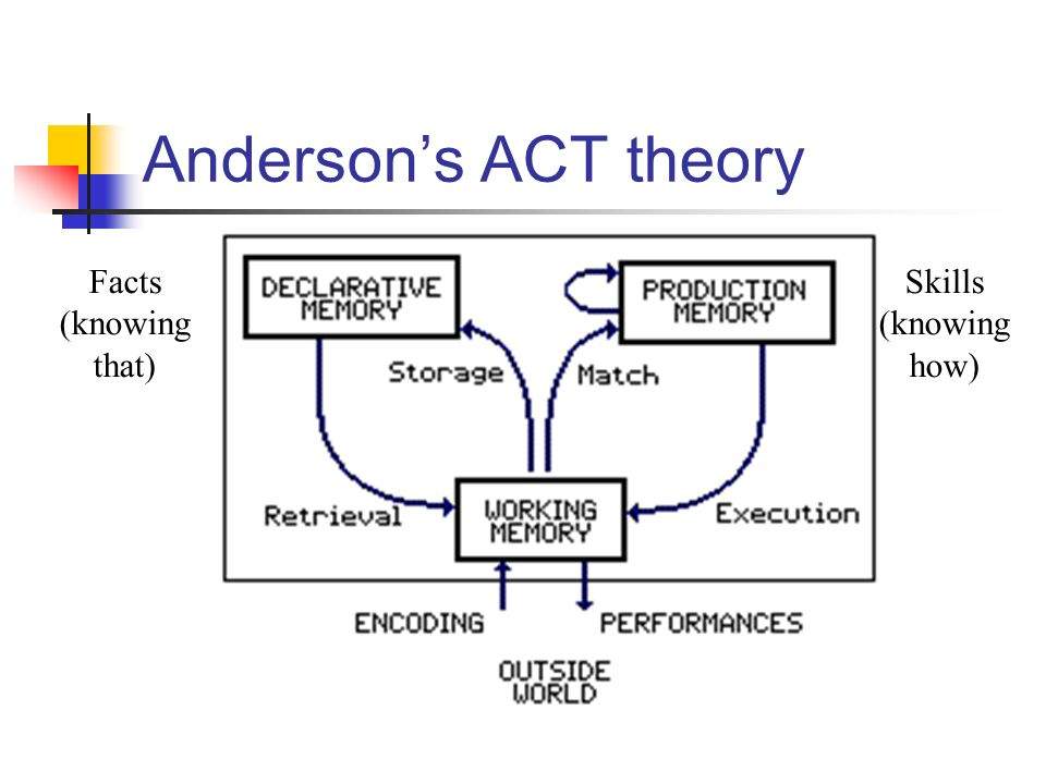Anderson's ACT theory Facts (knowing that) Skills (knowing how)