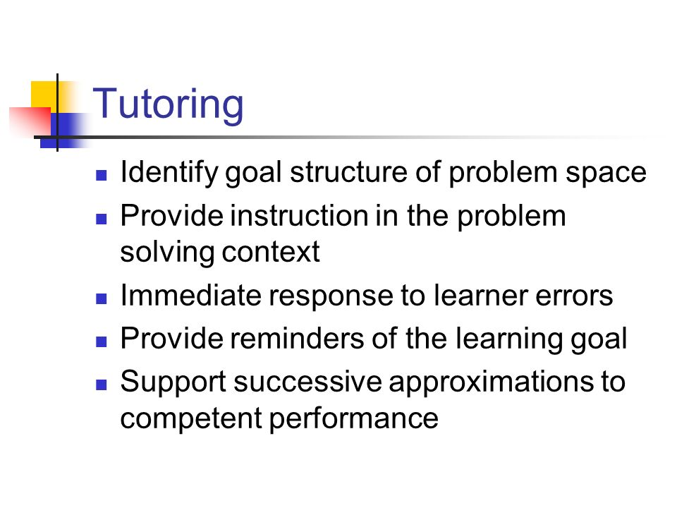 Tutoring Identify goal structure of problem space
