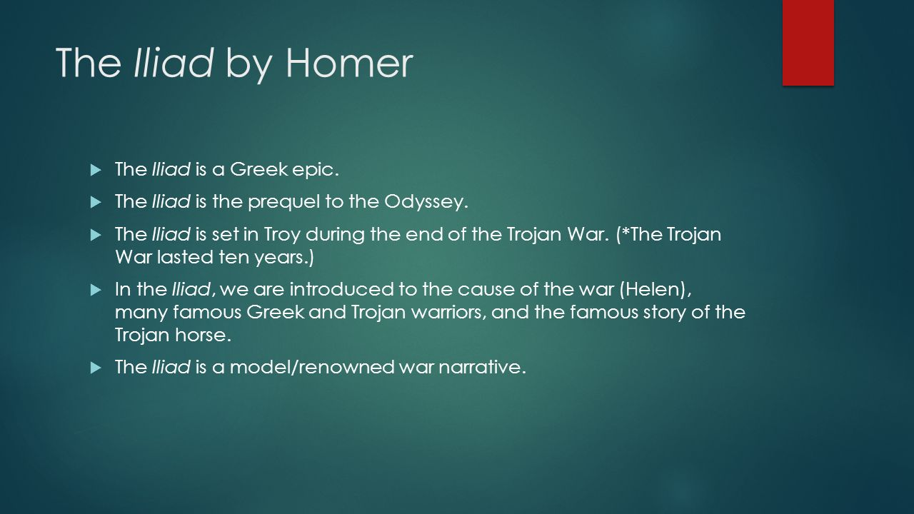 understanding the theme of great war in the iliad by homer One of the themes of the odyssey is the development of telemachos from a dependent boy into a mature in homer's the iliad, odysseus participated in the trojan.