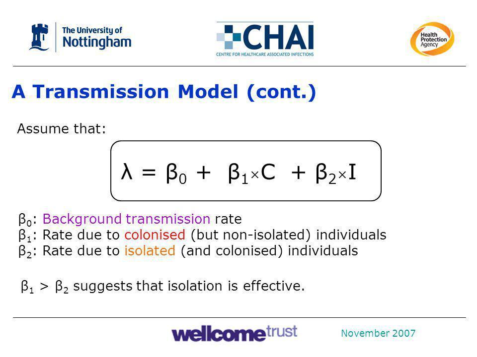 λ = β0 + β1×C + β2×I A Transmission Model (cont.) Assume that: