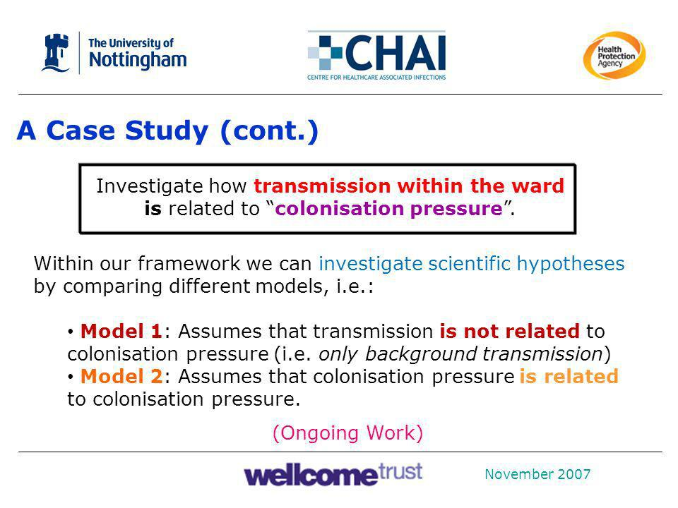 A Case Study (cont.) Investigate how transmission within the ward is related to colonisation pressure .