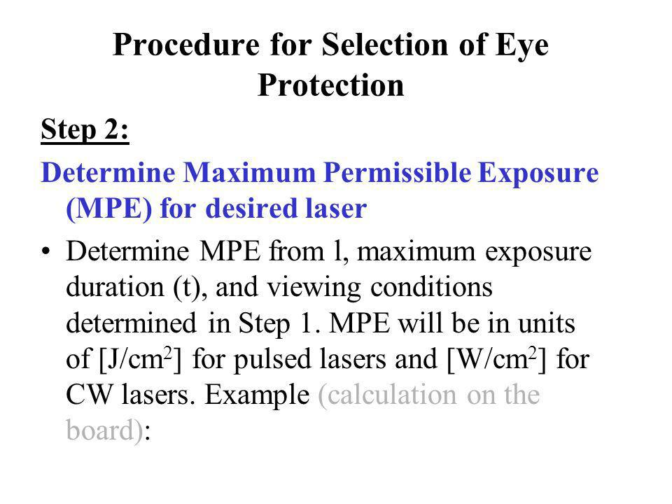 Procedure for Selection of Eye Protection