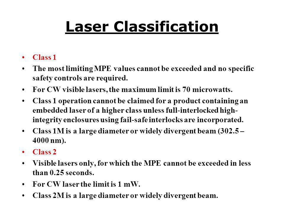 Laser Classification Class 1