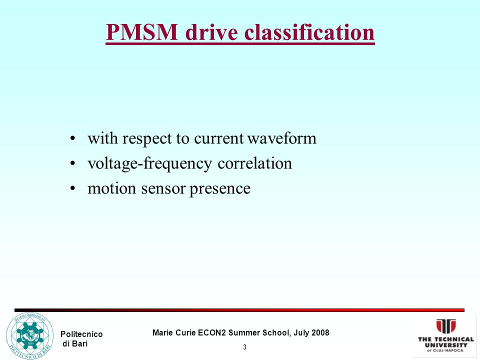 PMSM drive classification