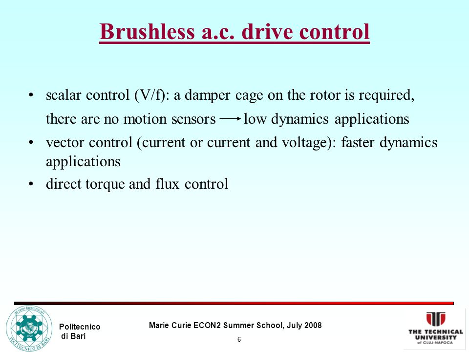 Brushless a.c. drive control