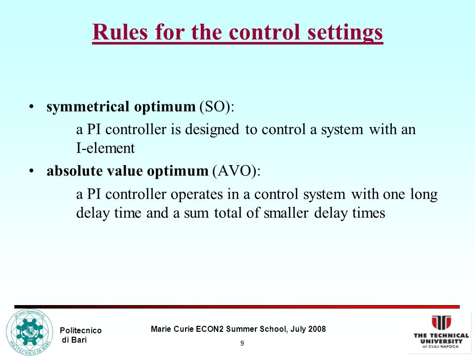 Rules for the control settings