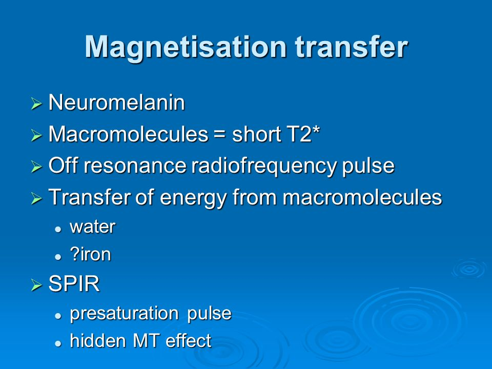 Magnetisation transfer