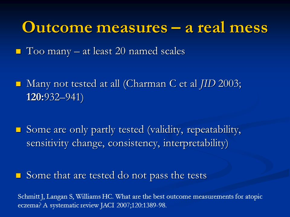 Outcome measures – a real mess